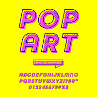 Vettore di alfabeto di Pop art inclinato