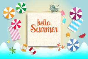 Bandiera e priorità bassa di vendita di estate. Concetto di vacanza e vacanza.