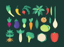 Set di verdure colorate vettore