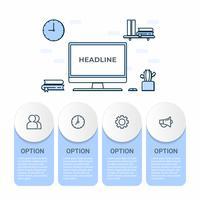 Infografica di affari Diagramma di infographics con tavolo business e computer di lavoro. modello per la presentazione.