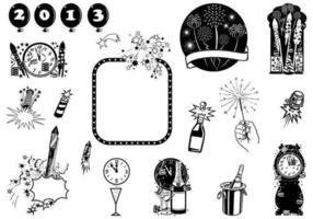 Pacchetto di elementi vettoriali di Capodanno