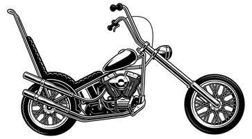 Motociclo americano classico su priorità bassa bianca