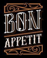 Disegno dell'iscrizione di Bon Appetit