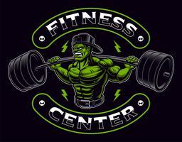 Distintivo colorato di un bodybuilder con bilanciere sullo sfondo scuro.