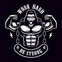 Illustrazione d'epoca di un bodybuilder di gorilla con catena