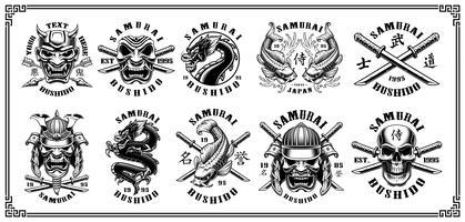 Set di emblemi di samurai (per sfondo bianco) vettore
