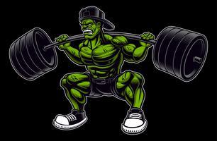 Illustrazione vettoriale colorato di un bodybuilder con bilanciere