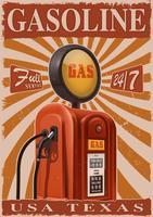 Poster vintage con vecchia pompa di benzina.