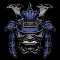 Maschera da guerriero samurai con baffi vettore