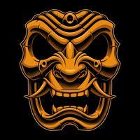Maschera da guerriero samurai (versione a colori) vettore