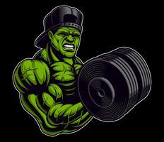 Illustrazione colorata di un bodybuilder con manubri vettore