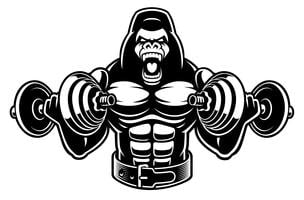 Vector l'illustrazione di un bodybuilder della gorilla con i dumbbells