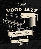 Illustrazione vettoriale di pianoforte vintage con nastro