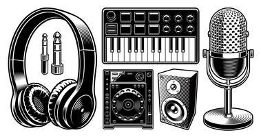 Insieme delle illustrazioni in bianco e nero del DJ sui precedenti bianchi.