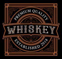 Modello di etichetta vintage whisky sullo sfondo scuro