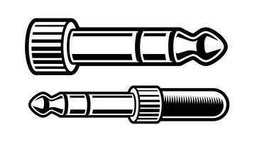 illustrazione in bianco e nero della spina delle cuffie