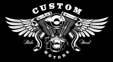 Motore Monster con design t-shirt ali (su sfondo scuro) vettore