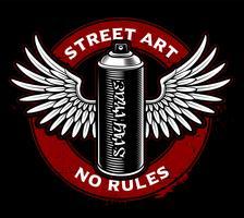 Bomboletta spray Graffiti con ali vettore