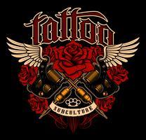 Disegno del tatuaggio Camicia grafica con le macchine e le rose del tatuaggio della vecchia scuola. vettore