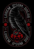 Illustrazione vettoriale di corvo sul rubino.