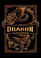 Disegno della maglietta del drago vettore