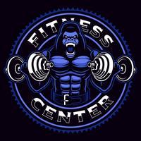Mascotte sportiva di un gorilla bodybuilder con manubri