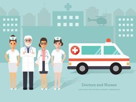 Gruppo di medici e infermieri, personale medico.