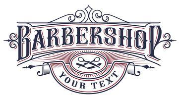 Disegno del marchio barbershop su sfondo bianco. vettore