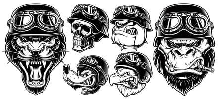 Set di motociclisti animali
