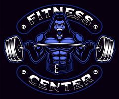 Gorilla bodybuilder con bilanciere sullo sfondo scuro.