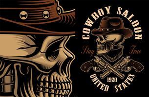 Illustrazione vettoriale del cranio di cowboy con pistole incrociate.