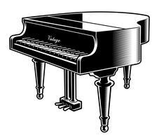 Illustrazione vettoriale in bianco e nero del pianoforte