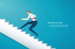 uomo d'affari salire le scale per il successo