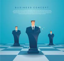 concetto di strategia aziendale di figura di scacchi uomo d'affari vettore