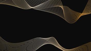 Estratto dell'elemento di disegno di arte di linea dell'onda di lusso dell'oro lucido su priorità bassa nera