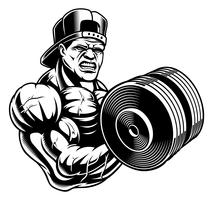 Illustrazione in bianco e nero di un bodybuilder vettore