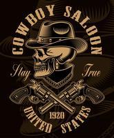 Illustrazione in bianco e nero del cranio del cowboy con pistole incrociate vettore