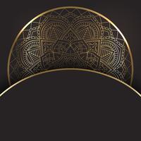 Decorativo disegno oro e mandala nera vettore