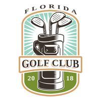 Mazze da golf in logo vettoriale borsa