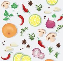 sfondo di cibi speziati e vegetali vettore