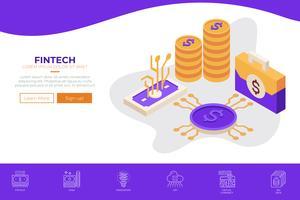 Fintech (Financial Technology) modello di web design vettore