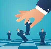 uomo d'affari gioca a scacchi figura. concetto di strategia aziendale vettore