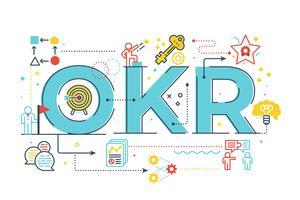 Illustrazione dell'iscrizione di parola di OKR (obiettivi e risultati chiave)