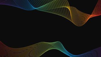 Estratto dell'elemento di lusso di linea arte dell'onda del Rainbow lucido su fondo nero