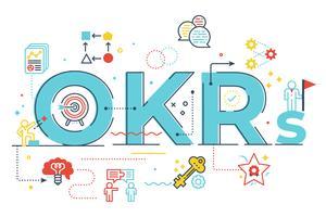 Illustrazione dell'iscrizione di parola di OKRs (obiettivi e risultati chiave)