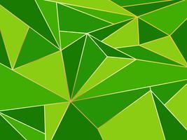 Astratto geometrico poligono verde artistico con sfondo linea d'oro