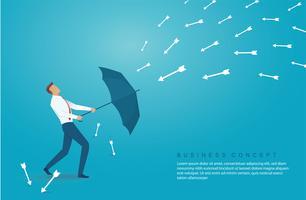 uomo d'affari usare l'ombrello per proteggere la freccia verso il basso vettore