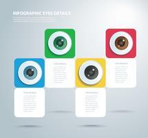 occhi a colori infografici. Modello vettoriale con 4 opzioni. Può essere utilizzato per il web, diagramma, grafico, presentazione, grafico, report, infografica passo-passo. Sfondo astratto