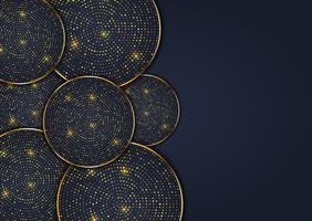 Priorità bassa astratta di disegno con i cerchi eleganti del puntino dell'oro