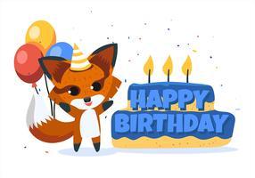 Buon compleanno Animal Fox vettore